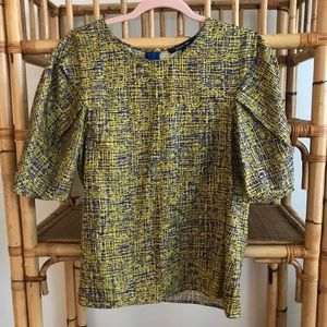Rachel Roy blue and yellow pattern blouse - M